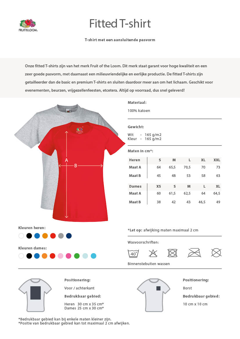 fitted t-shirts informatie